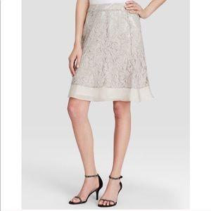 Nic & Zoe Lace Overlay Georgette Ruffle Hem Skirt